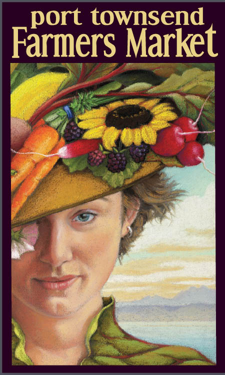 Woman in vegetable adorned hat